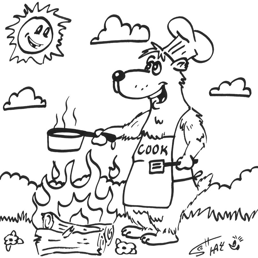 Cooking Bear Super Fun Coloring Page | thisisrad.