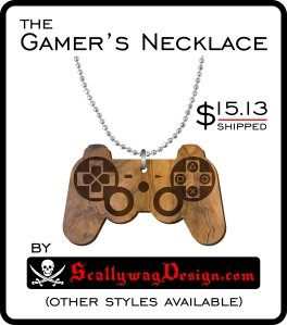 Custom Laser Engraved Video Game Controller Necklace